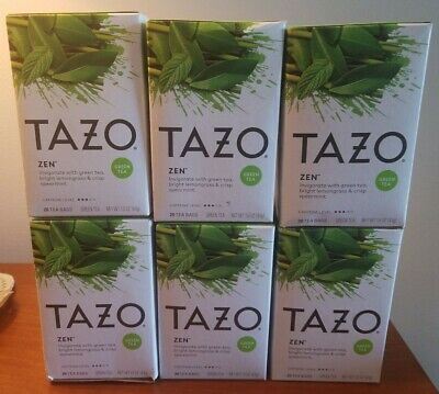 Lot Of 6 Tazo Tea Green Tea - Zen - 20 Bags×6 Boxes Are Slightly Distressed  • 20.69£