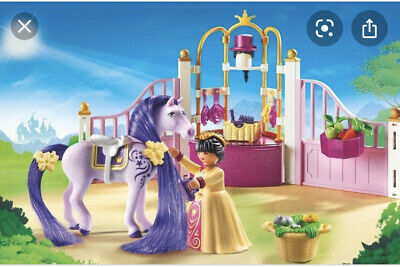 PLAYMOBIL PRINCESS CASTLE STABLE WITH HORSE PLAySET 6855 • 3£