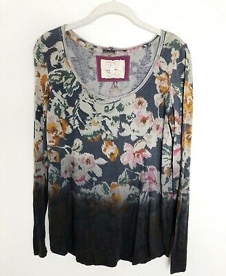 $ CDN6.79 • Buy PURE + GOOD TOP Anthropologie Floral Ombre Long Sleeve Blouse Sz Small G2