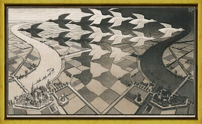 $93.65 • Buy Framed M.C. Escher Day And Night Giclee Canvas Print Paintings Poster