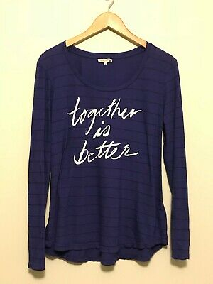 $ CDN27.20 • Buy Anthropologie SUNDRY Beautiful  Together Is Better  Blue W/ Black Stripe SZ 4 XL
