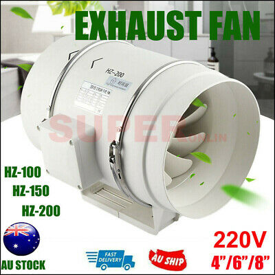AU59.99 • Buy 4/6/8 Inch Silent Extractor Fan Duct Hydroponic Inline Exhaust Industrial Vent