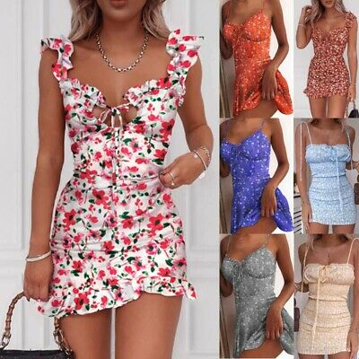 UK Womens Summer Casual Mini Dress Party Cocktail Holiday Beach Dresses Sundress • 12.19£