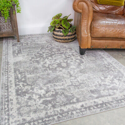 Faded Grey Living Room Rugs Traditional Medallion Area Rug Long Hallway Runners • 11.95£