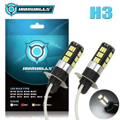AU27.51 • Buy Pair IRONWALLS H3 LED Fog Light Bulb Replace Halogen Lamp White 6000K 60W 1500LM