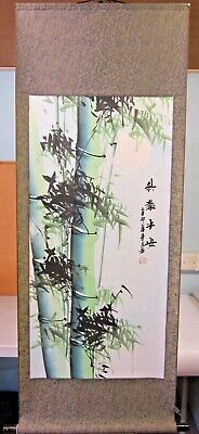 Large Hand Finished Chinese Bamboo & Moon Scroll Wall Hanging • 26£