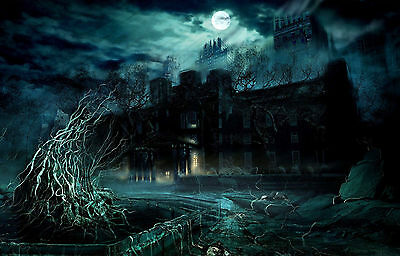 £7.95 • Buy Framed Print - Gothic Haunted House (Halloween Picture Poster Ghost Horror Art)
