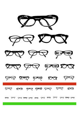 Framed Print - Funky Eye Chart Of Glasses (Funny Picture Snellen Optician Test) • 7.95£