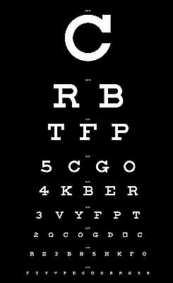 Framed Print - Eye Chart Black With White Letters (Picture Poster Art Optician) • 7.95£
