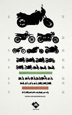 Framed Print - Motorcycle Eye Chart (Picture Poster Art Optician Glasses) • 7.95£