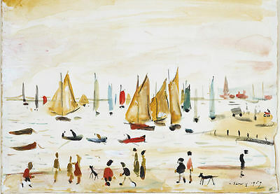 Framed LS Lowry Print – Yachts (Picture Painting English Artist Artwork Boating) • 7.95£