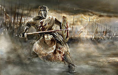£24.95 • Buy Large Framed Print - Knight Templar Amidst An Epic Battle (Picture Poster War)