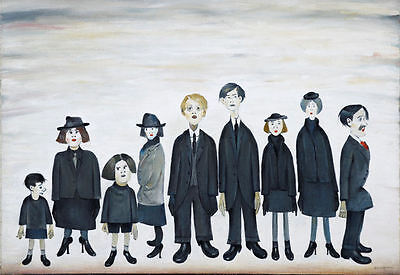 Framed LS Lowry Print – The Funeral Party (Picture Painting English Artist) • 7.95£