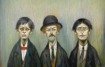 Framed LS Lowry Print – A Father And Two Sons (Picture Painting English Artist) • 7.95£