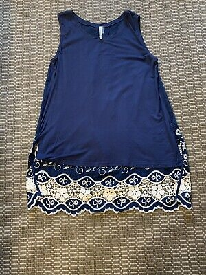 $ CDN15.99 • Buy Monoreno Womens Anthropologie Embroidered Navy High Low Sleeveless Top Size M