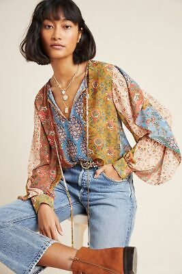 $ CDN174.18 • Buy NWT XL Anthropologie Sachin & Babi Iliana Blouse Ruffle Floral Patchwork Top
