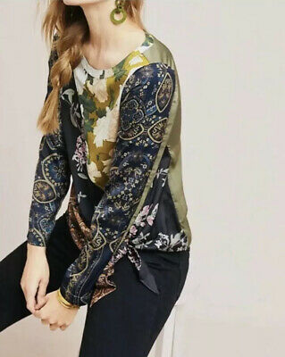 $ CDN38.09 • Buy Anthropologie Tiny Top Size S Patchwork Blooms Floral Side Tie Long Sleeve