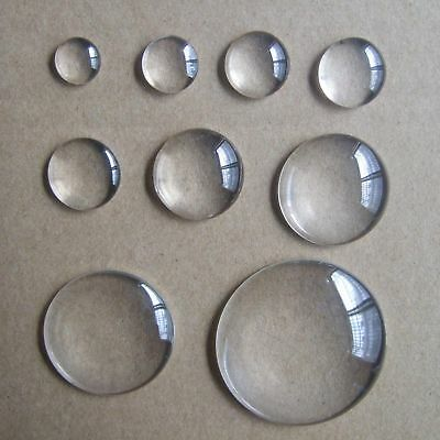 6mm-50mm Crystal Clear Round Cabochon Flat Back Glass Dome Tile Jewellery Making • 1.64£
