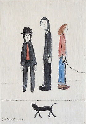 Large Framed LS Lowry Print – Three Men And A Cat (Picture Painting English Art) • 24.95£