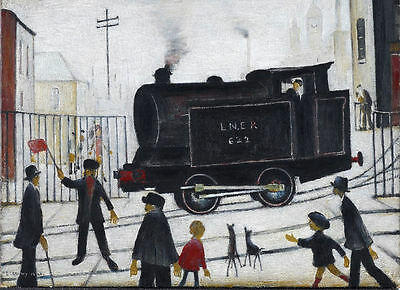 Framed LS Lowry Print – Level Crossing (Picture Painting English Artist Artwork) • 7.95£