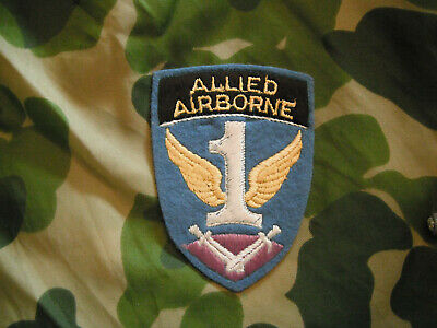 WW2 ORIG. AIRBORNE PARATROOPER 1st ALLIED ABN PATCH BRITISH-MADE INSIGNIA MINTY! • 79.14£