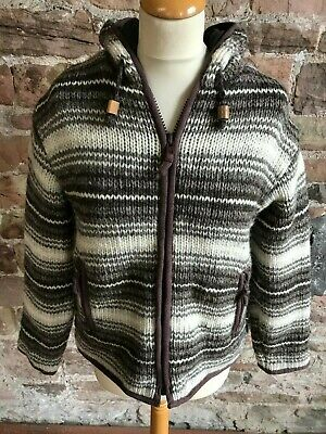 Pachamama 100% Pure Wool South American Style Zipper With Hood. FREE UK POSTAGE • 32£