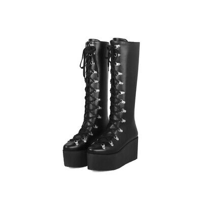 £41.61 • Buy Womens Fashion Winter Pointed Toe Wedge High Heels Platform Shoes High Boots SZ