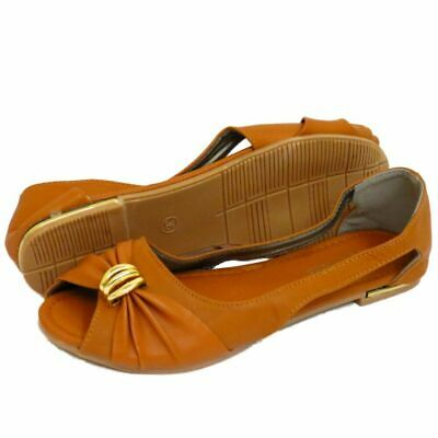 Womens Flat Tan Slip-on Open-toe Slingback Summer Shoes Comfy Ballet Pumps 3-7 • 5.99£