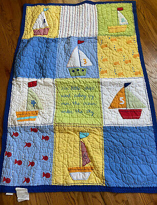 $40 • Buy Pottery Barn Kids Nautical Sailboats Fish Ocean Patchwork Crib Quilt 33x49