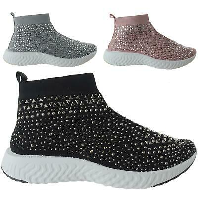 Womens Ladies Speed Sock Trainers Pull On Sneakers Stretch Knit Gem Pumps Size • 9.99£