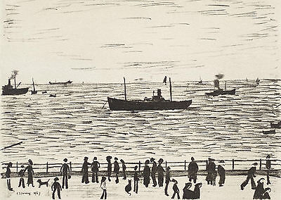 LS Lowry Framed Print – Seaside Promenade Lithograph (Picture Painting Artwork) • 7.95£