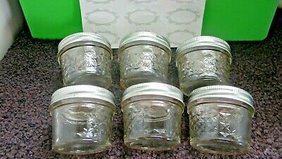 $11.99 • Buy Ball Quilted Mason Canning Jelly/Craft Jars 4 Oz ~ NEW ~ 6 With Lids & Labels