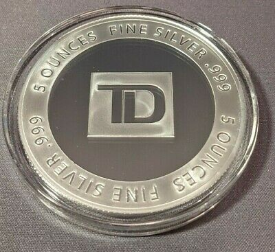 $ CDN249.99 • Buy NEW MINT 5 Oz. TD BANK COAST TO COAST SILVER BULLION! FREE TRACKED SHIPPING!!!