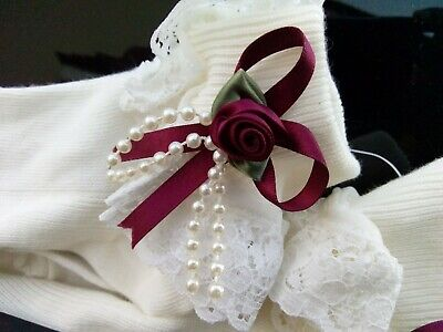 Girls Gorgeous Ribbon & Pearls Frilly Ankle Socks • 2.99£