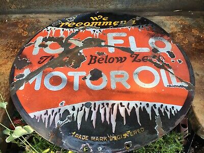 """$ CDN913.51 • Buy Original Icy Flo Motor Oil 23.5"""" Double-sided Porcelain Sign A Real One Rare"""