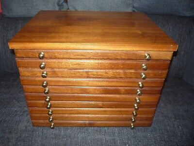 Wooden Collectors Drawers 10 Drawer Collectors Cabinet Specimen Chest • 80£