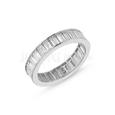 RHODIUM PLATED 925 SILVER ETERNITY RING - 5mm BAGUETTE CUT CUBIC ZIRCONIA • 19.95£