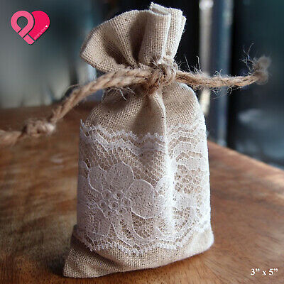 Vintage Burlap Linen Lace Wedding Party Favor Gift Candy Bag Jewelry Fancy Pouch • 24.72£