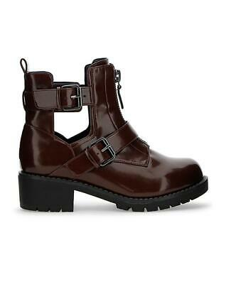 Womens Burgundy E Eee Extra Wide Fit Biker Calf Ankle Boots Casual Shoes Uk 4-9 • 12.99£