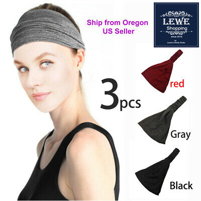 $7.49 • Buy 3 Women Lady Wide Sports Yoga Headband Stretch Hairband Elastic Hair Band Turban