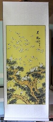 Large Hand Finished Chinese One Hundred Cranes Scroll Wall Hanging • 26£