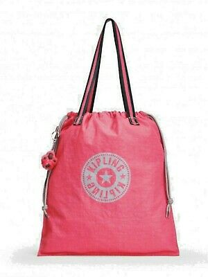 KIPLING, BN HIP HURRAY DRAWSTRING FOLDABLE BAG- City Pink - RRP £29. Pls READ!!! • 19.50£