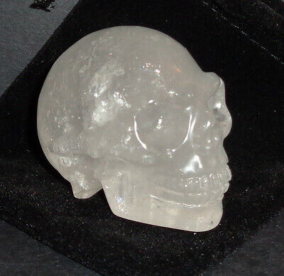 $24.99 • Buy 2 Inch Hand Carved Clear Quartz Crystal Skull With Black Velvet Drawstring Pouch