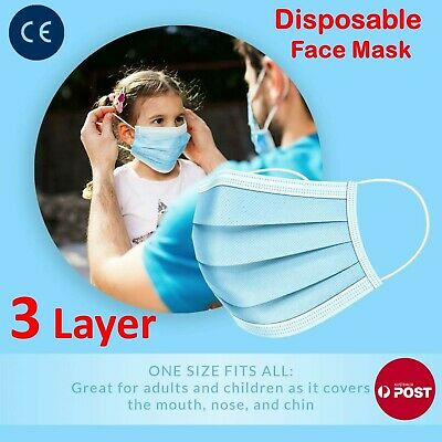 AU12.96 • Buy 100Pc Disposable Face Mask Protective Masks 3 Layer Meltblown Filter General Use