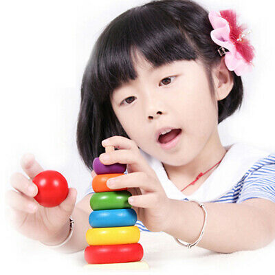 Kids Baby Toy Wooden Stacking Ring Tower Educational Toys Rainbow Stack Up • 5.07£
