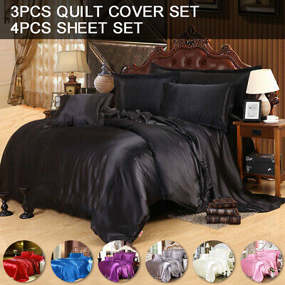 AU52.66 • Buy Silk Soft Satin Queen/King Size Quilt/Doona/Duvet Cover Set/Sheet Set Luxury New