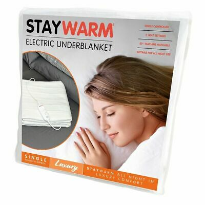 STAYWARM Luxury Electric Blanket With 2 Heat Settings +Fast Warm Up SINGLE SIZE • 15.99£