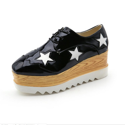 Womens Punk Leather Oxford Platform Wing Tip Comfort Brogues Creeper Flat Shoes • 22.57£