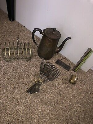 6 Items Of Antique Silver Plate (toast Rack, Napkin Ring, Forks, Kettle, Comb) • 10£