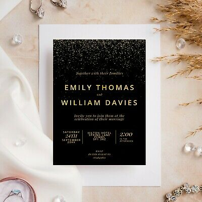 £6.99 • Buy 10 Wedding Invitations Day/Evening Glitter Effect Gold Silver Rose Gold